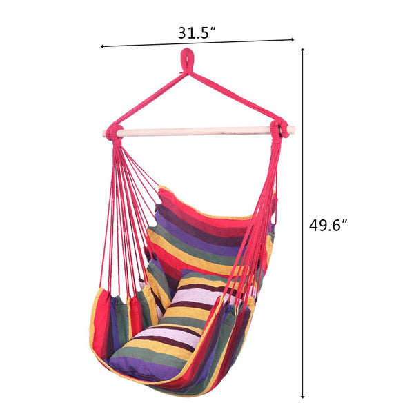 Striped Cotton Canvas Hanging Rope Hammock Swing with Pillows - MASS Wholesalers