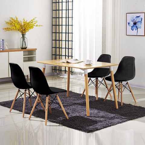 4PCS Mid Century Modern Dining Side Chair Wood Leg Black Dining Room Furniture - MASS Wholesalers