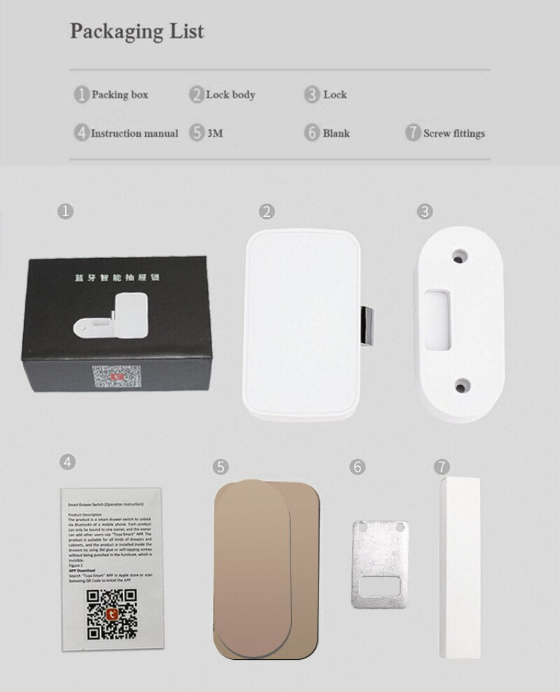 Intelligent Electronic Bluetooth Lock Tuya App Control File Storage Cabinet Lock Letter Box Lock Door Drawer Lock - MASS Wholesalers