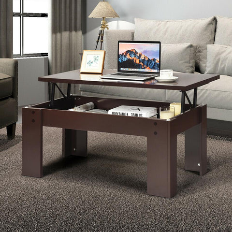 Lift Top Coffee Table Pop-UP Cocktail Table w/Hidden Compartment & Shelf - MASS Wholesalers