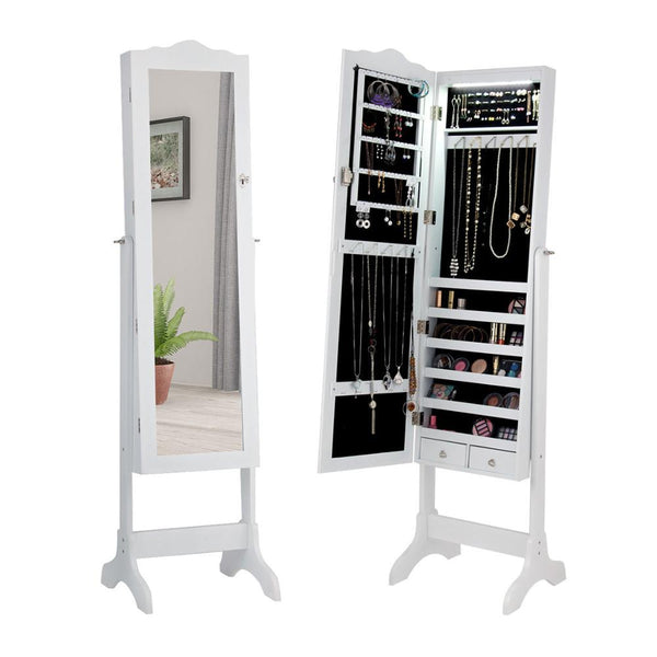 Lockable Mirrored Jewelry Armoire With Led Lights Brown/White - MASS Wholesalers
