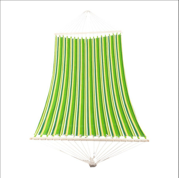 New High Quality 250G Weather Resistant Stylish Green Printed Retro Stripe Double Bed Hammock - MASS Wholesalers