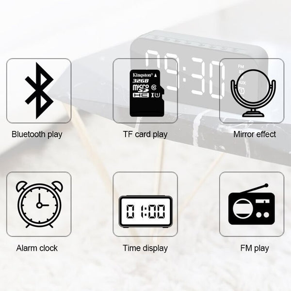 Centechia Waterproof Wireless Bluetooth Speaker Soundbar Alarm Clock Support TF Card FM Radio AUX - MASS Wholesalers