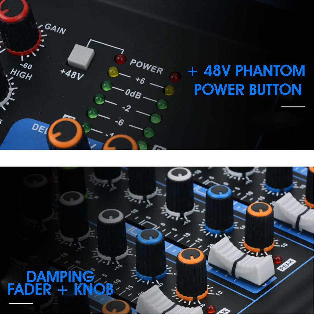 Professional Mixer Bluetooth Audio Mixer with USB DJ Sound Mixing Console MP3 Jack 7 Channel Karaoke Amplifier For TV Music Party - MASS Wholesalers