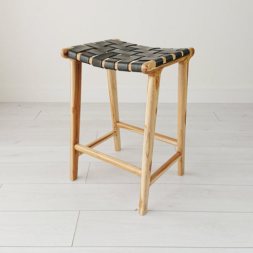 Anya Woven Leather Bar Stool Natural + Black from Souk Collective