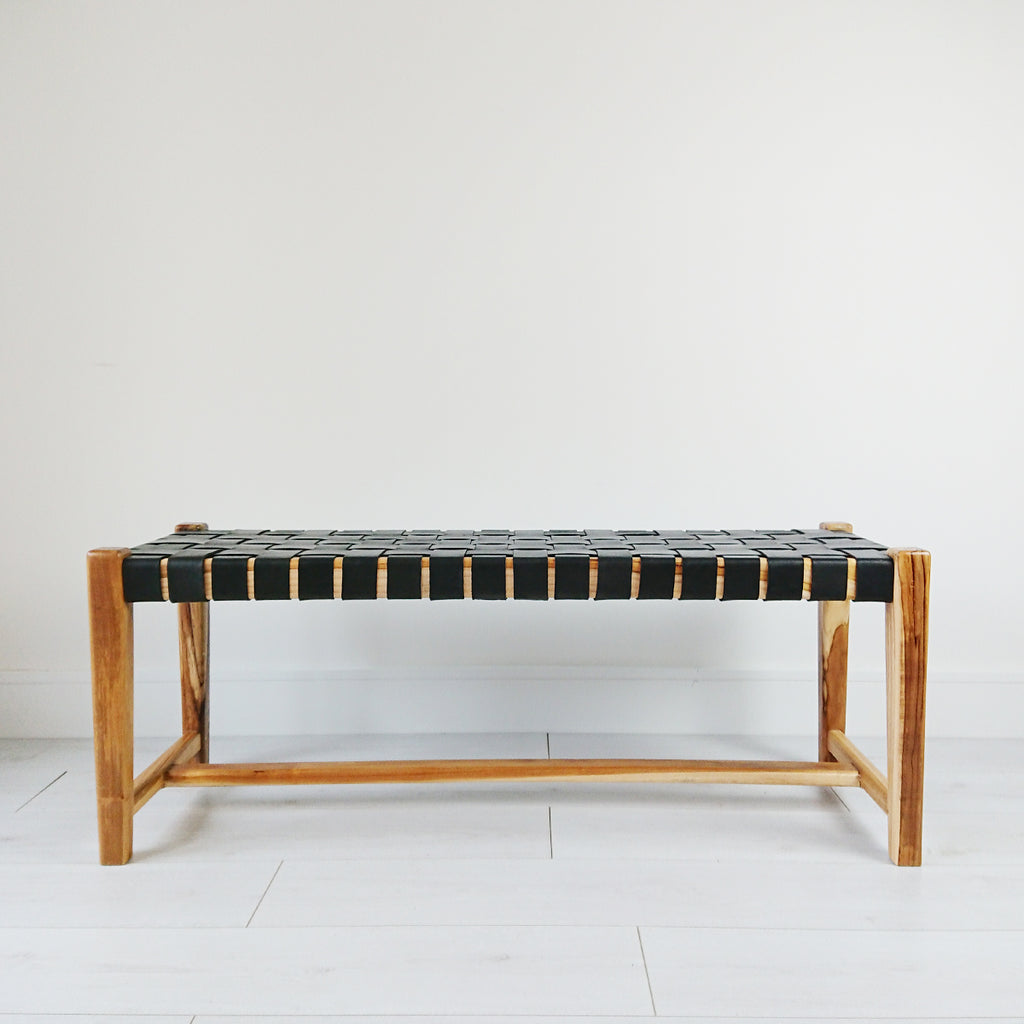 Abby Woven Leather Bench from Souk Collective