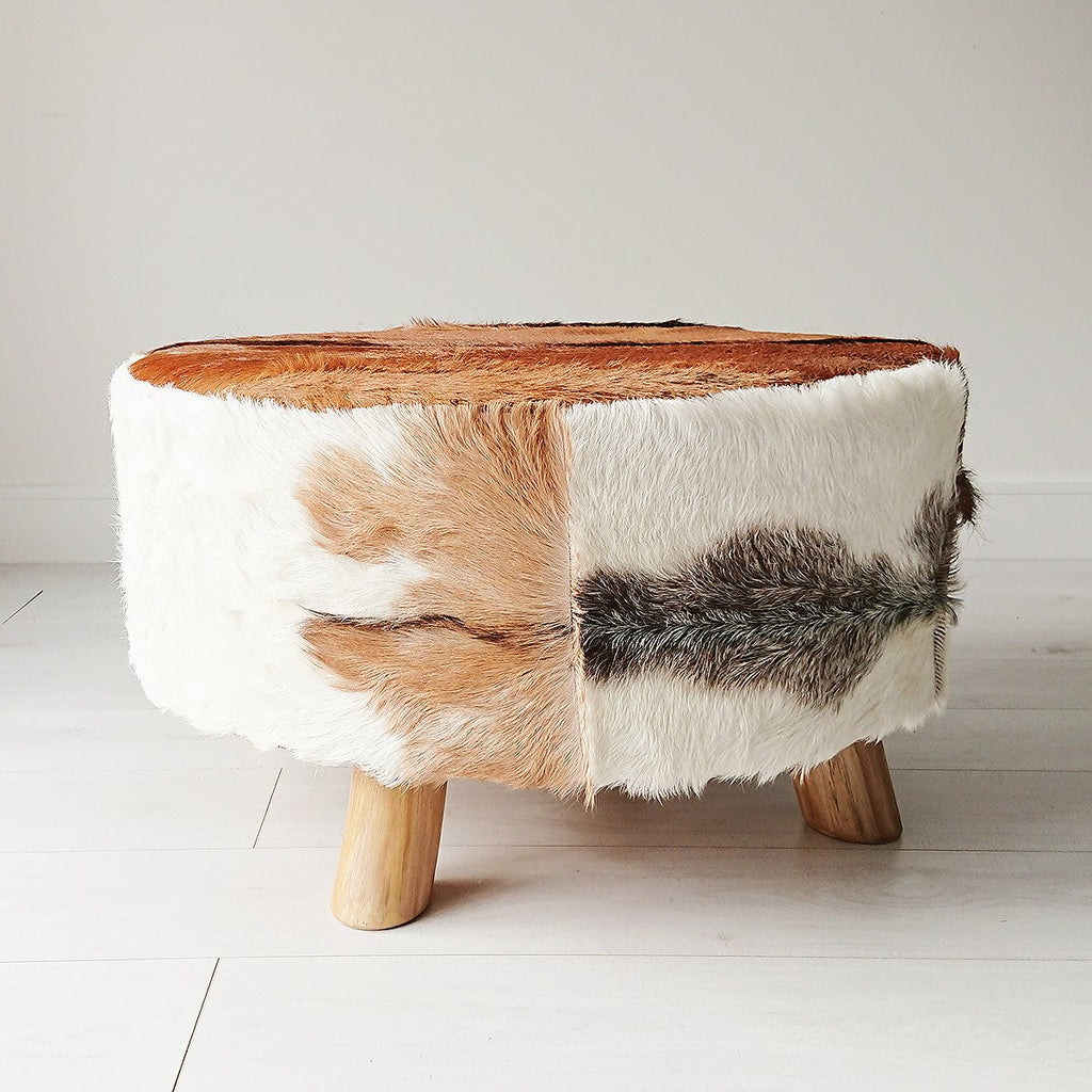 Goat Hide Ottoman from Souk Collective UK