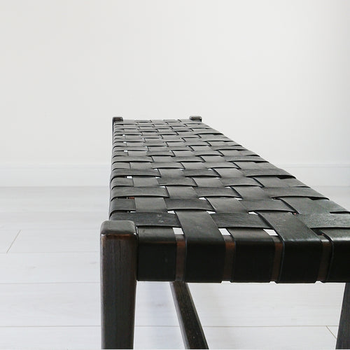 Abby Woven Leather Bench Black + Black from Souk Collective