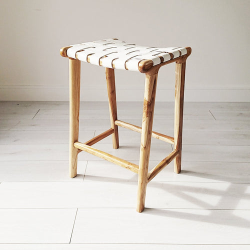 Anya Woven Leather Stool from Souk Collective