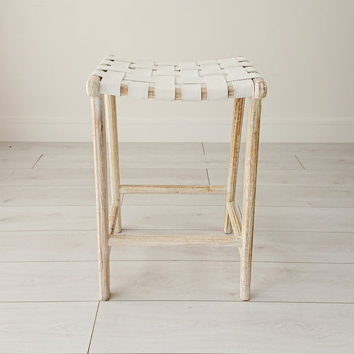 Anya Whitewash Stool from Souk Collective