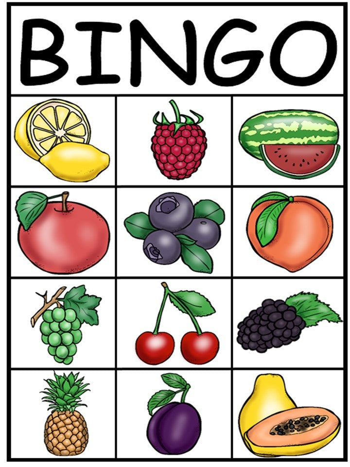 Fruits Bingo In Spanish