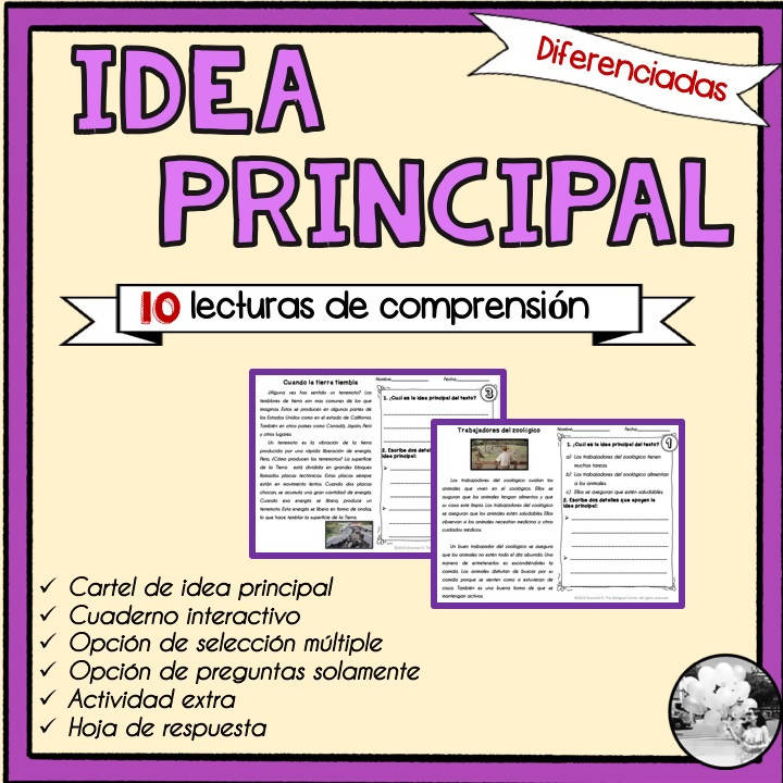 Idea principal y detalles/Main idea and details in Spanish