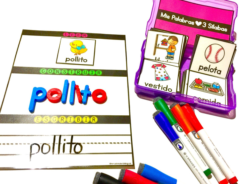 READ, BUILD & WRITE 3 Syllable Words In Spanish