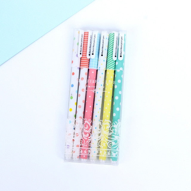6 pcs/set Black Gel Pen Set