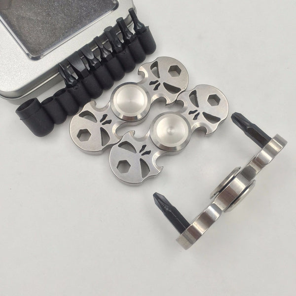 Multi-Function Skull Stainless Steel Fidget Hand Spinner Bottle Opener Bolt Driver  Bi-spinner - CUEBALL JONES