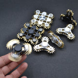 Metal Mechanical Brass Gear Linkage EDC Adult Fidget Hand Spinner For Autism and ADHD  Tri-spinner - CUEBALL JONES