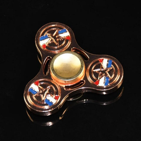 Metal Captain America Fidget Hand Spinner For Autism and ADHD Anti-Stress  Tri-spinner - CUEBALL JONES
