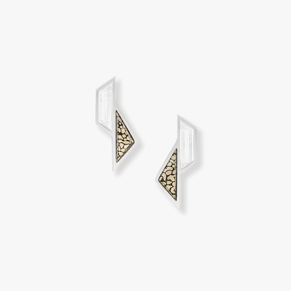 White Trapezoid Step Cut Diamond and Pyritized Dinosaur Bone Sculpture Earrings