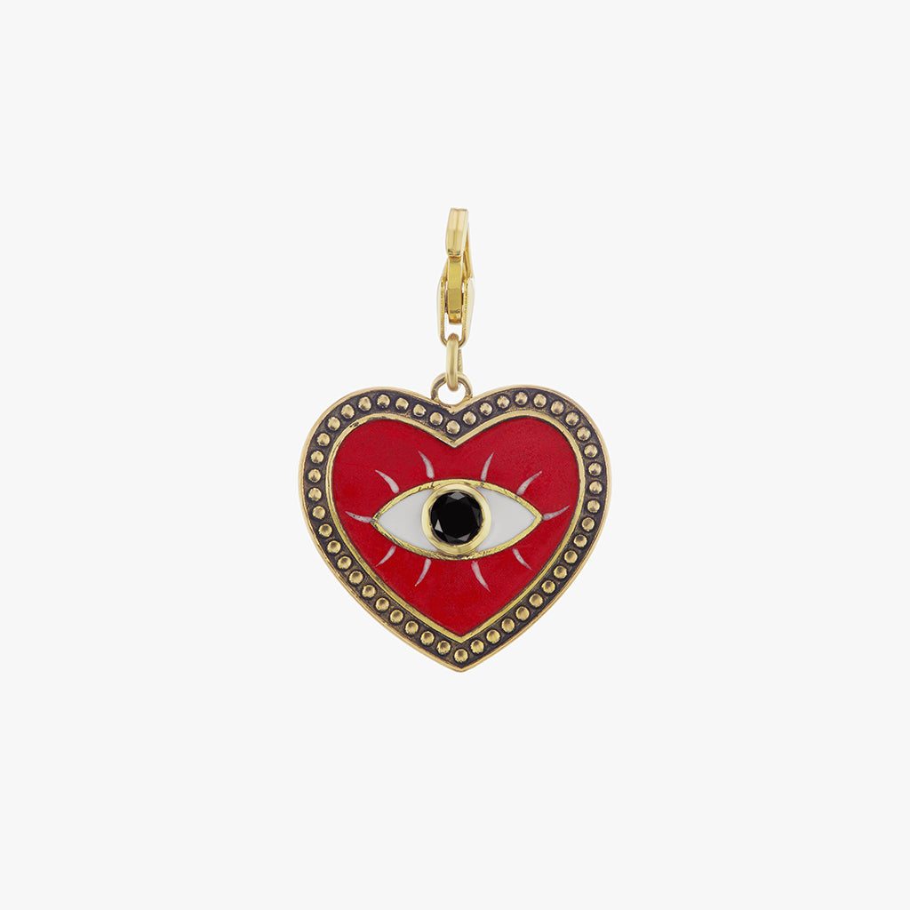 Red Evil Eye Heart Charm with Black Diamond