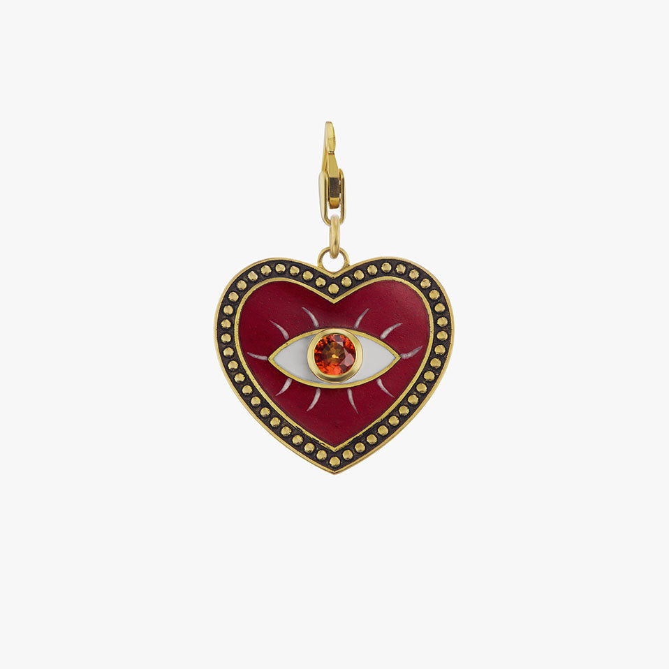 Wine Evil Eye Charm with Ruby