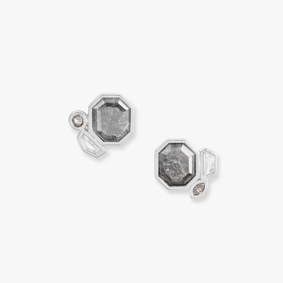 Grey Octagonal Diamond Slice and Mixed Shape Diamond Earrings