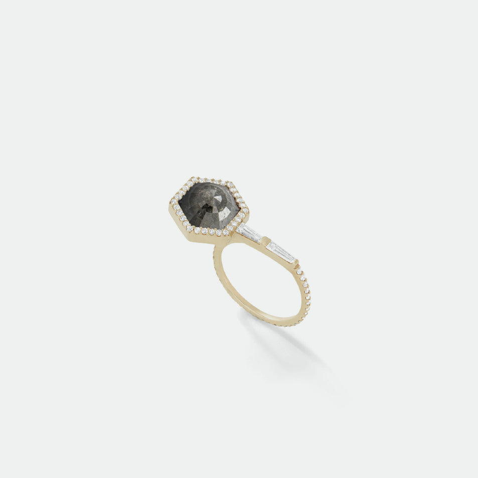 Black Round Waterfall Cut Diamond Ring