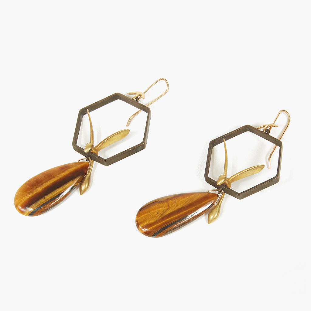 Wasps and Honeycomb Earrings