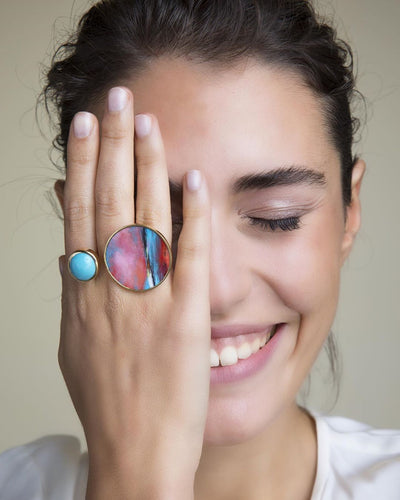 Duo Ring with Mother Pearl and Turquoise