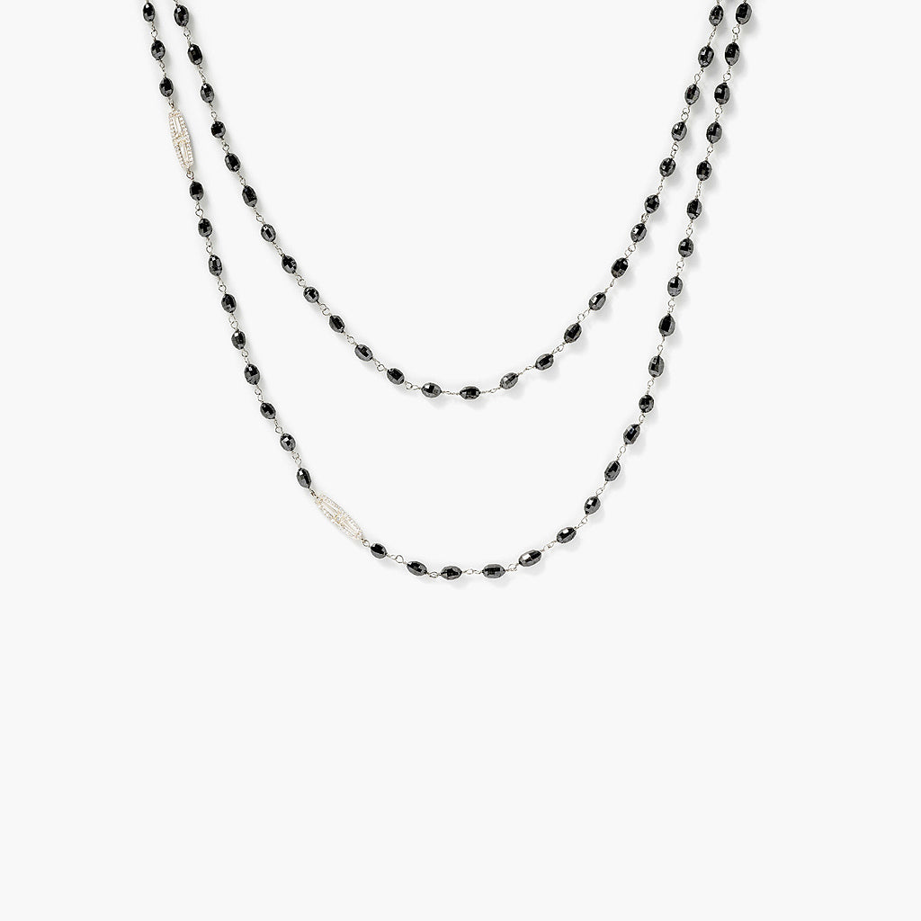 Black Oval Diamond Bead Wrap Necklace