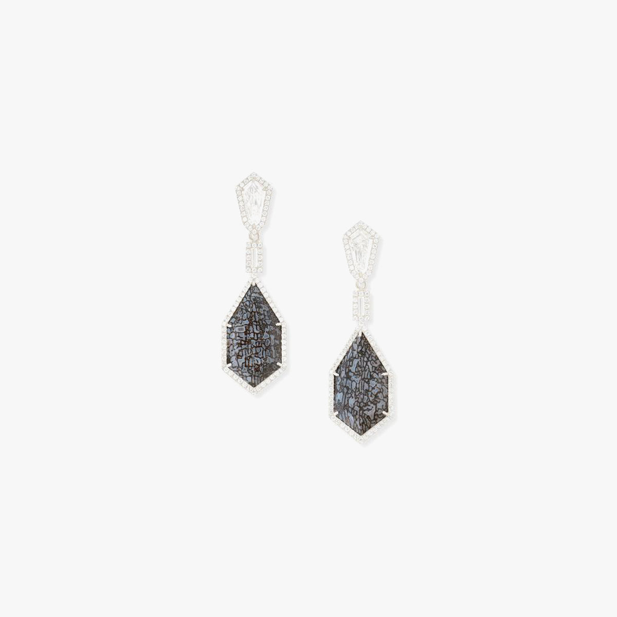 Kite step-cut Diamond and Blue Fossilized Dinosaur bone Earrings