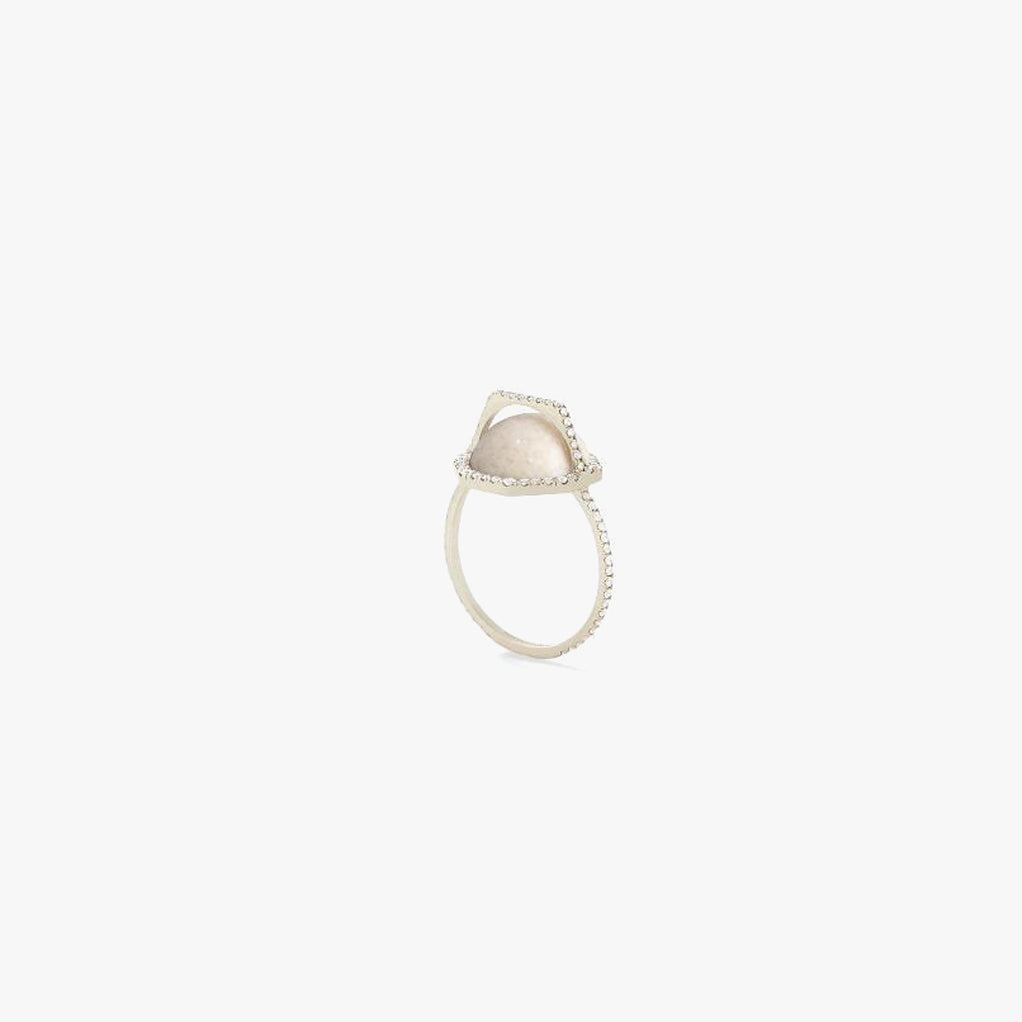Cream Fossilized Dinosaur Bone Arch Ring