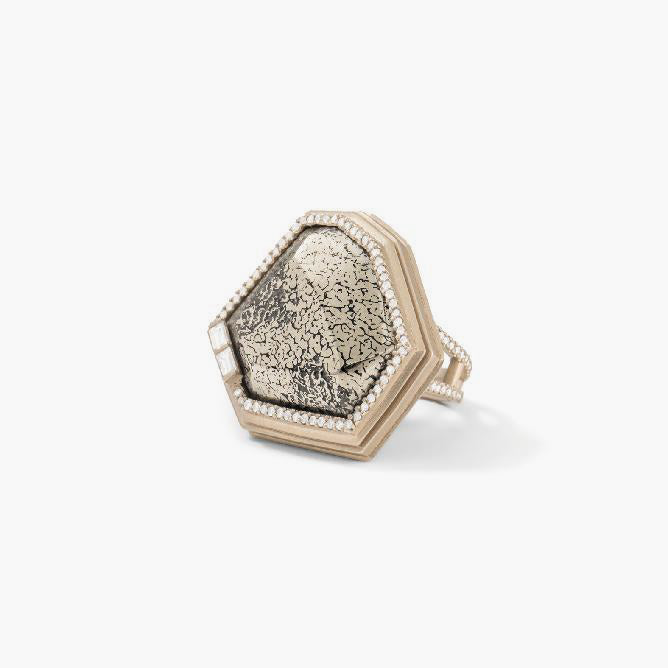 Pyritize Dinosaur Bone and White Diamond Baguettes Ring
