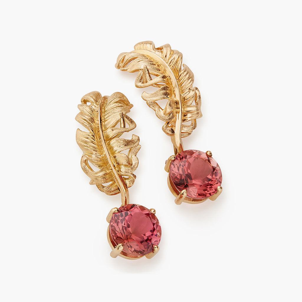 Pink Tourmaline Plume Drop Earring