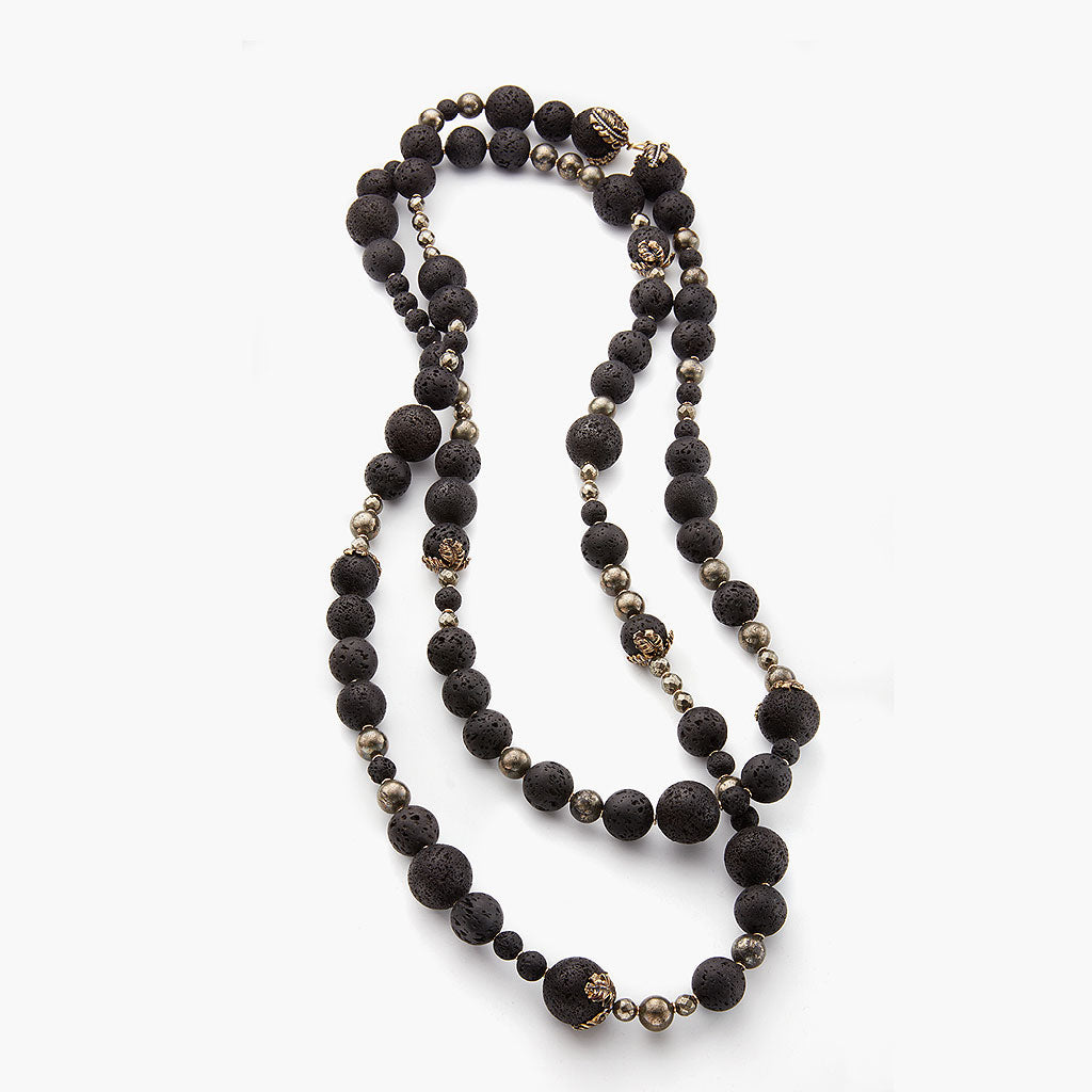 "Lava Rock 72"" Plume Necklace"