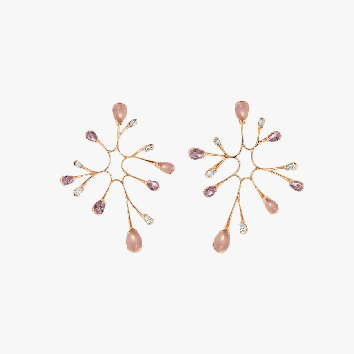 Algae Earrings with Diamonds