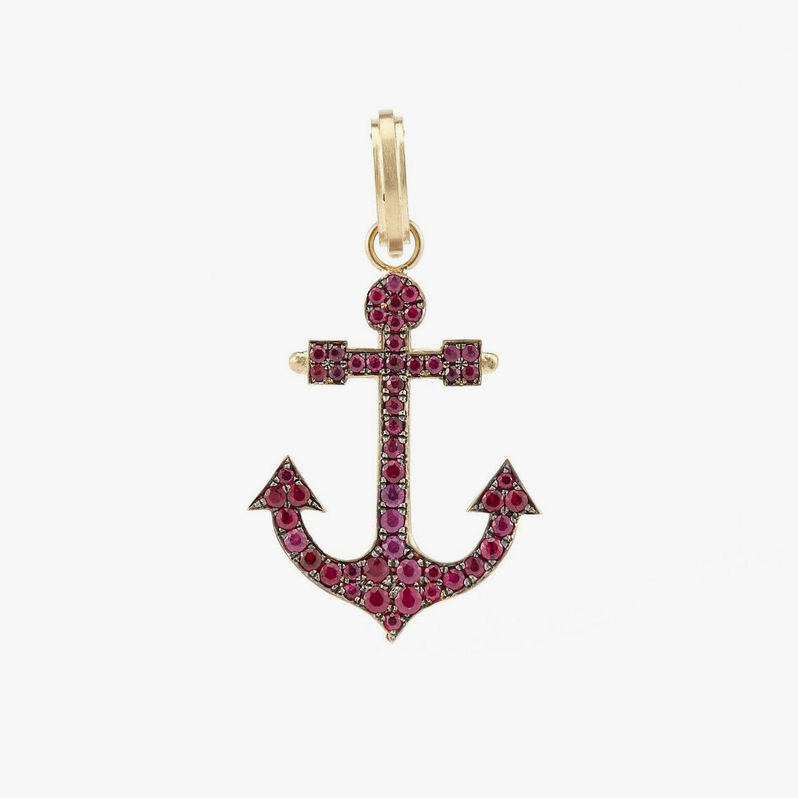 Anchor Charm with Rubies