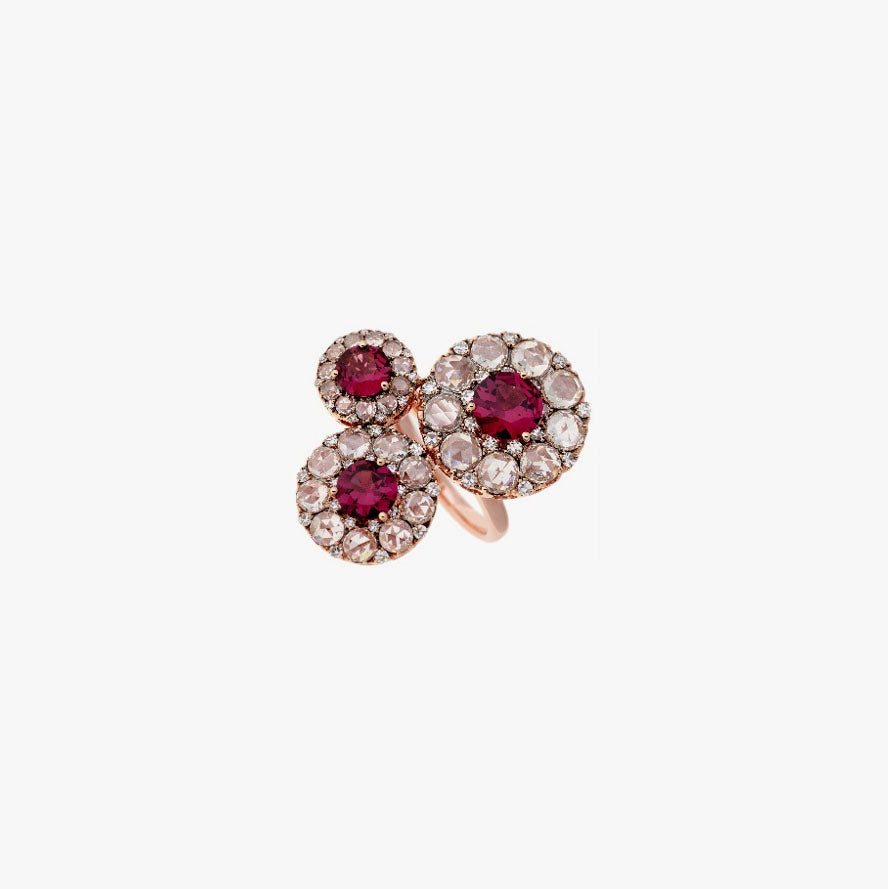 Beirut Rhodolite's and Diamonds Ring
