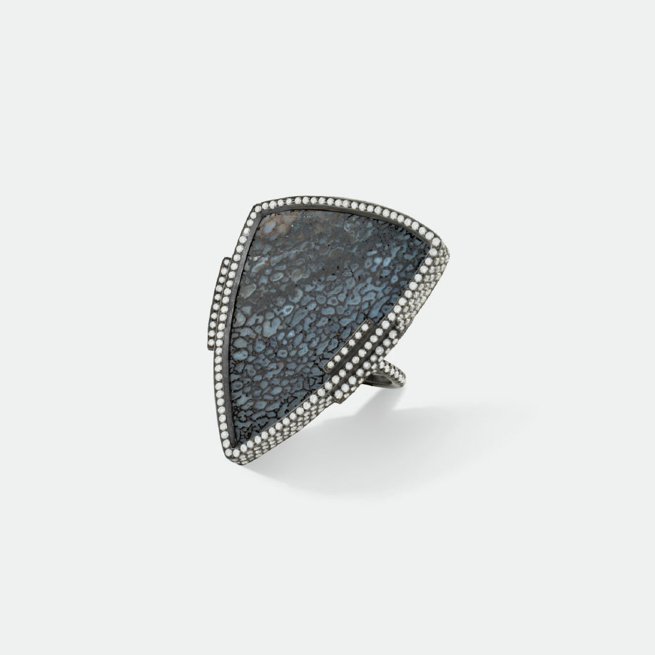 Blue-black Fossilized Dinosaur Bone Triangular Ring