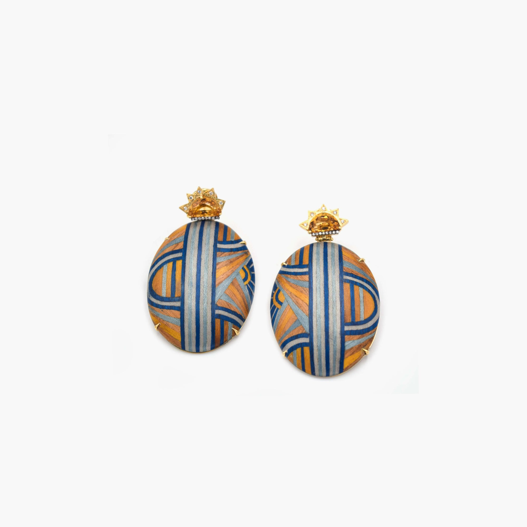 Marquetry Blue and Yellow Round Earrings