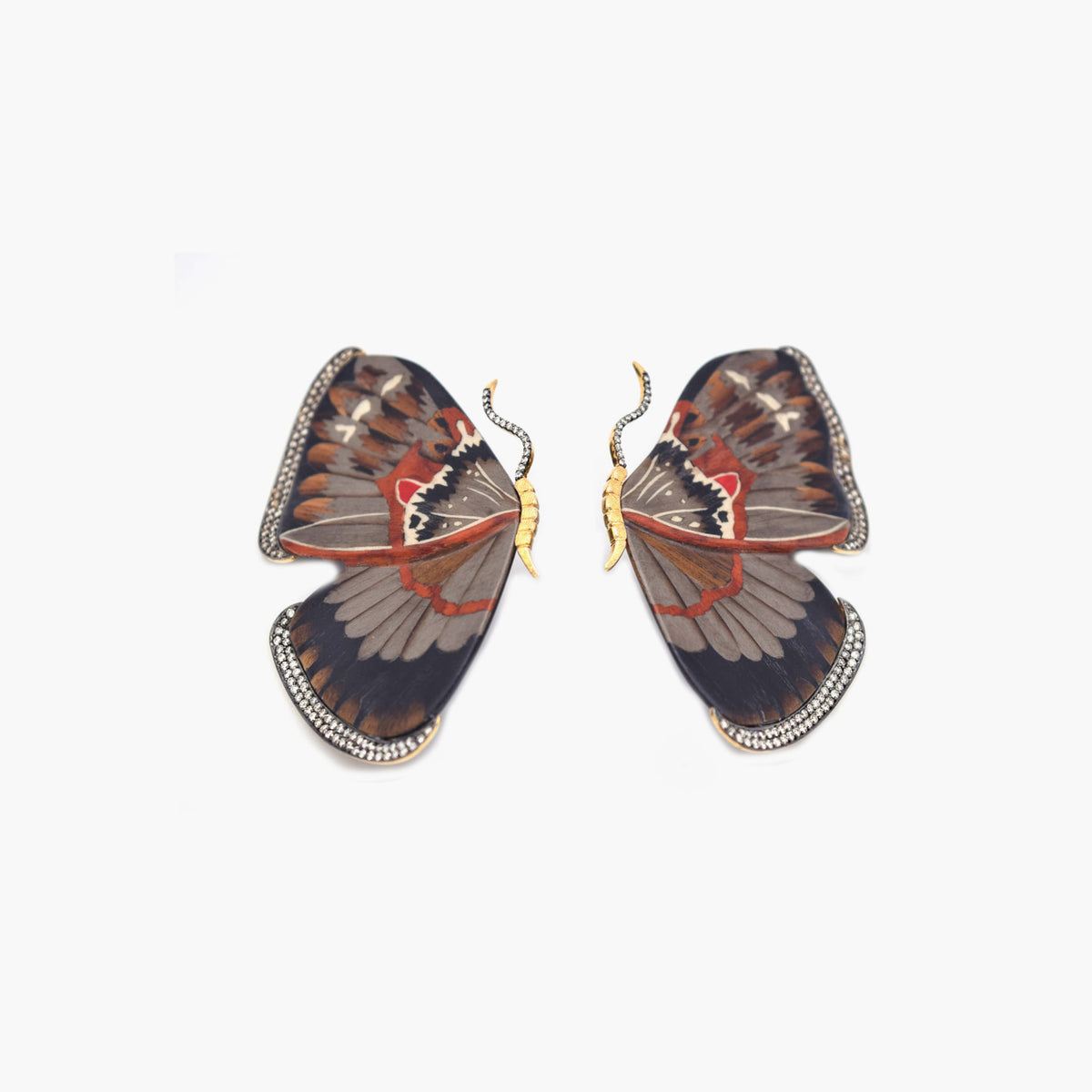 Butterfly Marquetry Earrings with Light Brown Diamonds