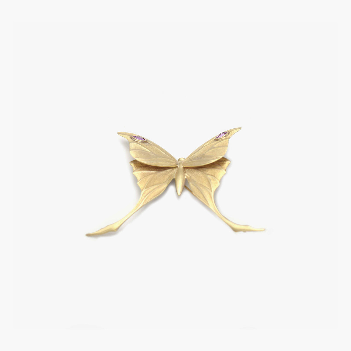 Moth Brooch with Pink Sapphires