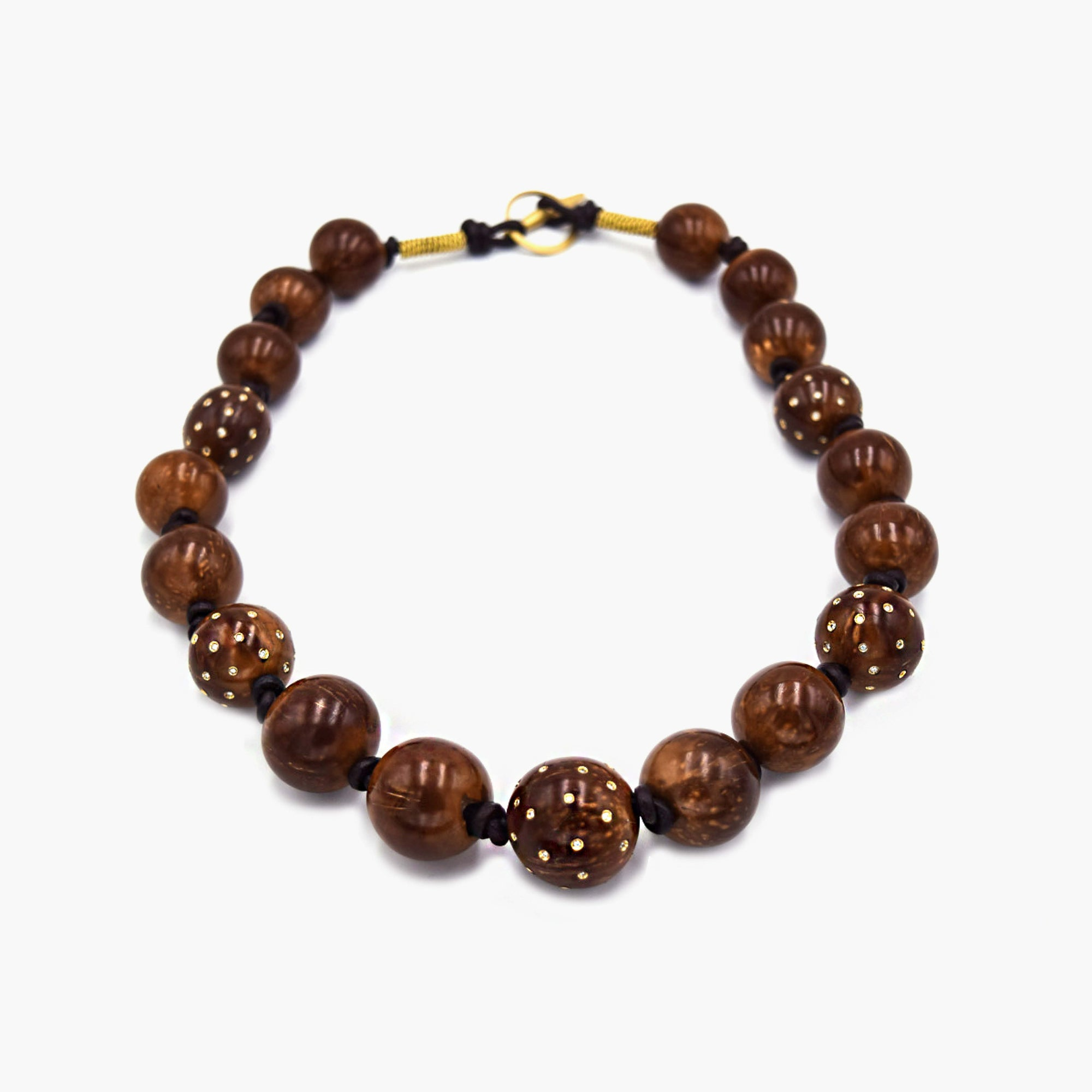 Coconut Bead Necklace with Diamonds