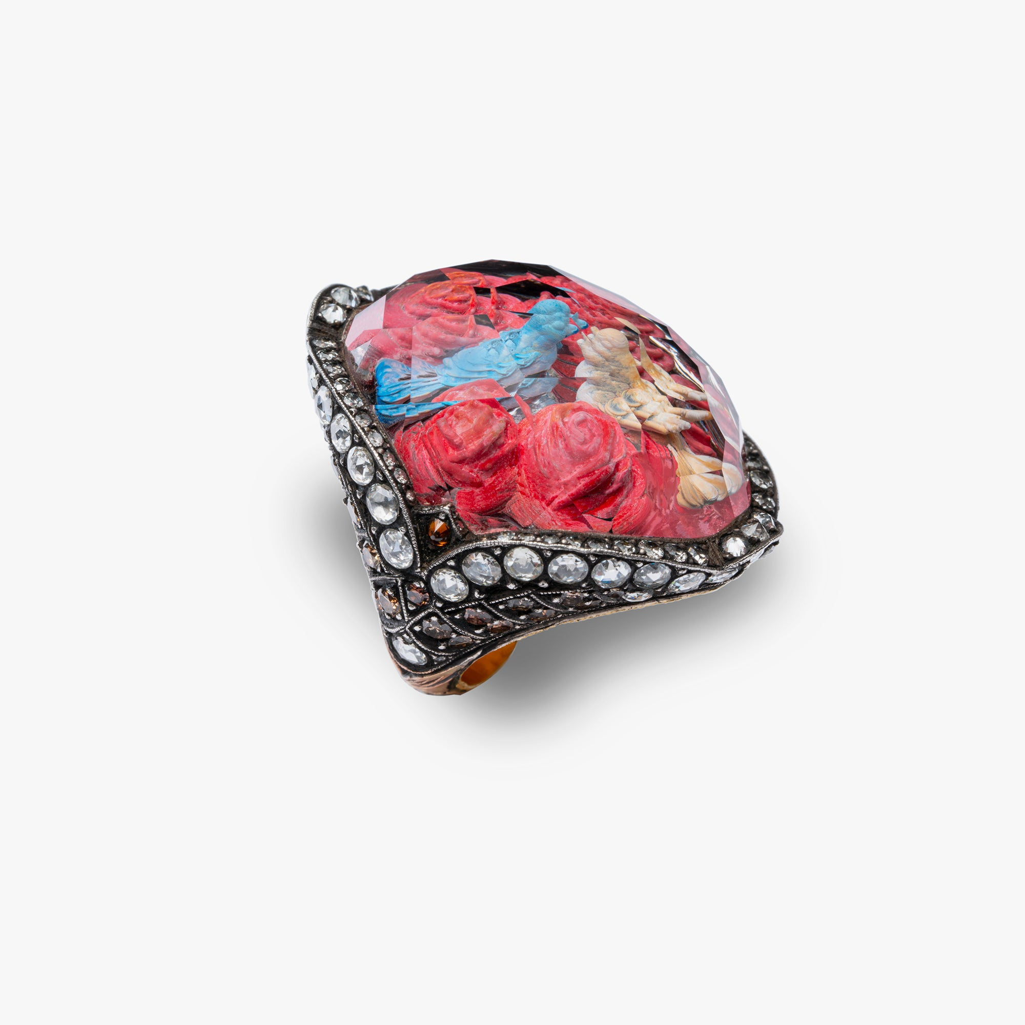 One of a Kind Two Birds Flirting in a Bed of Roses Ring