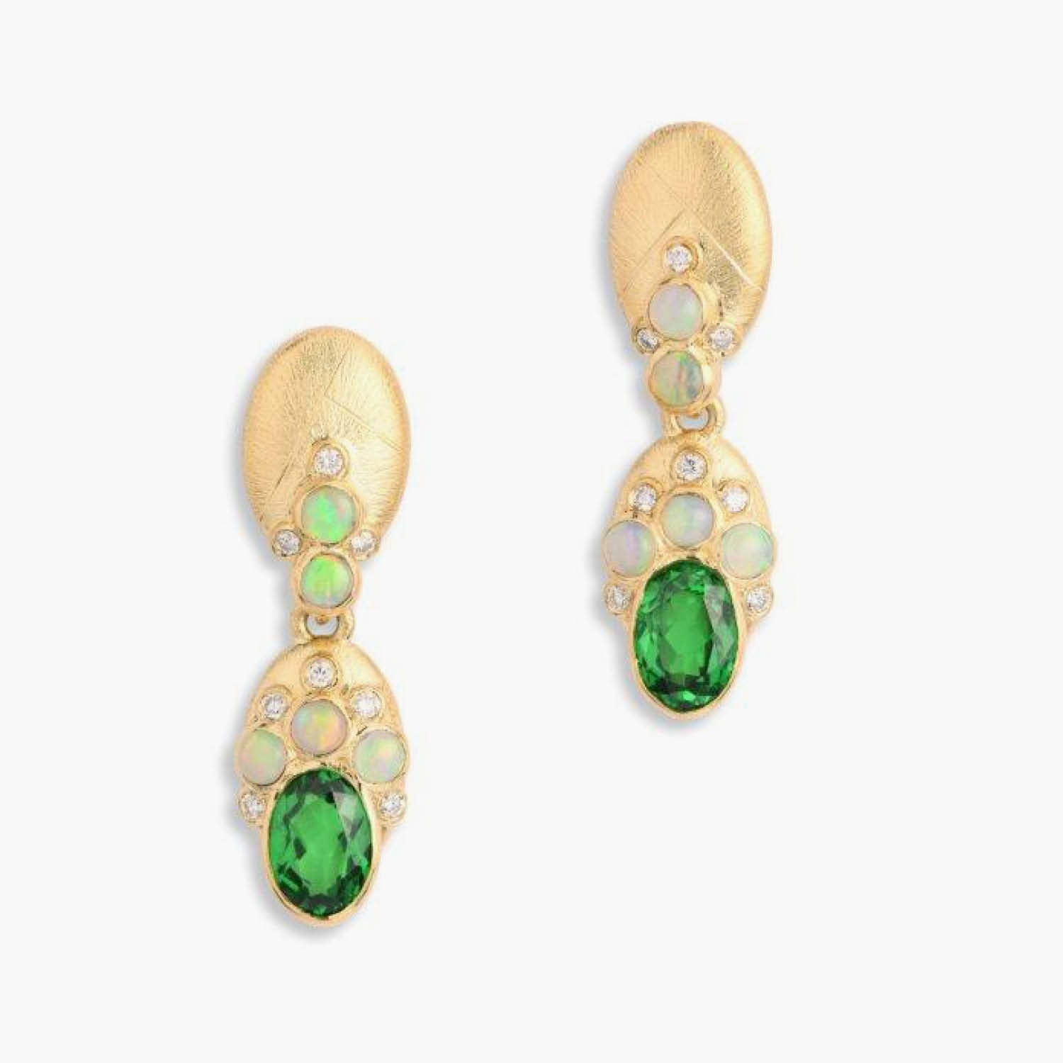 Constellation Collection Oval Earrings with Tsavorites