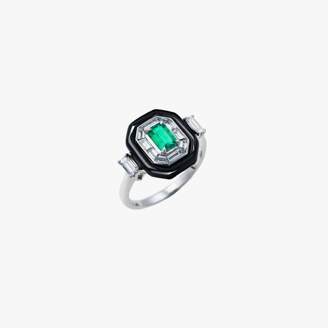 Oui Emerald and Diamonds Ring
