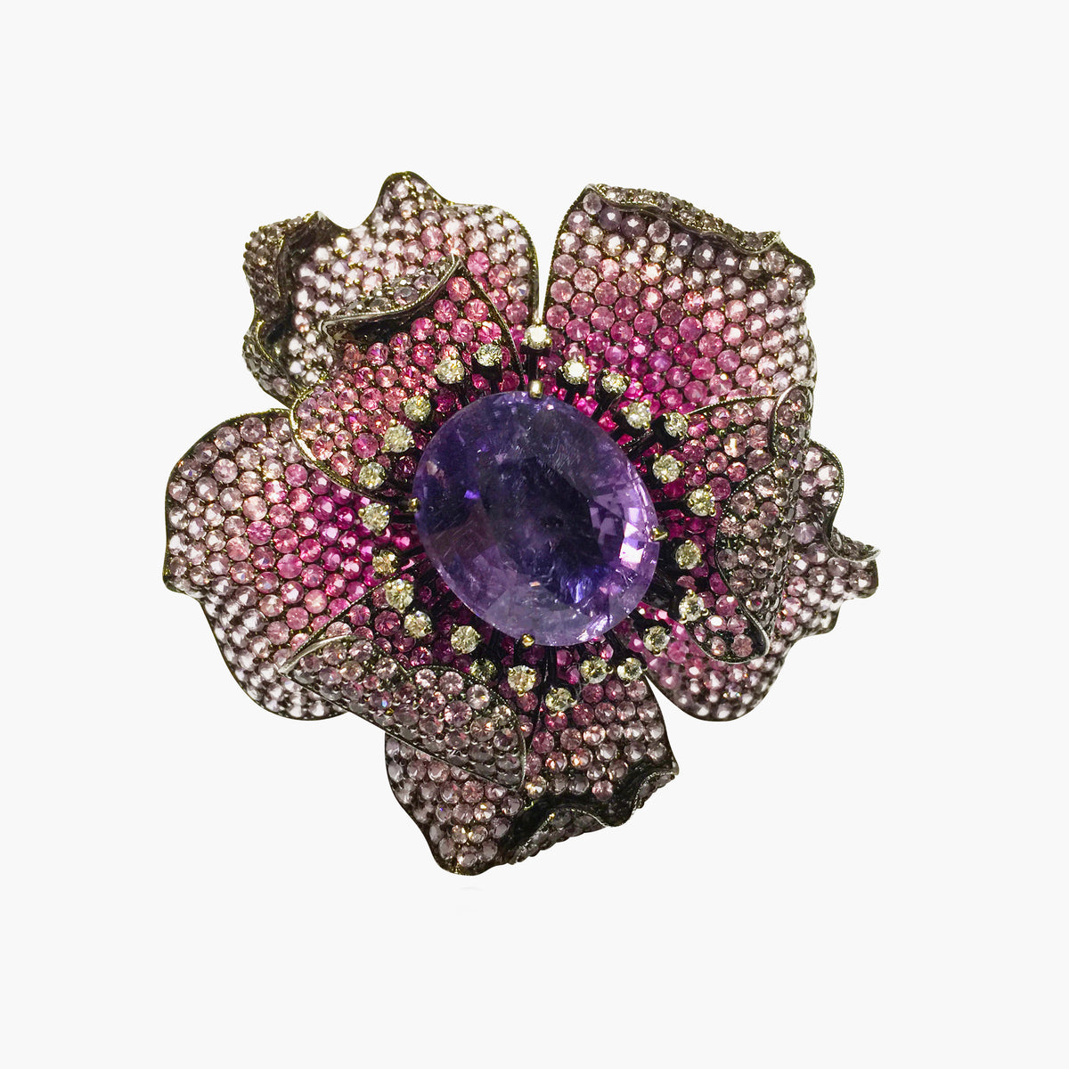 Sapphire and Ruby Flower Ring