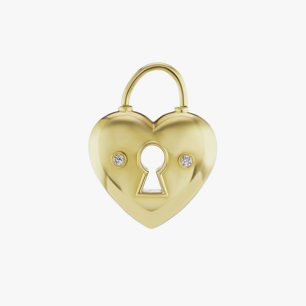 Heart Lock Charm with Diamonds
