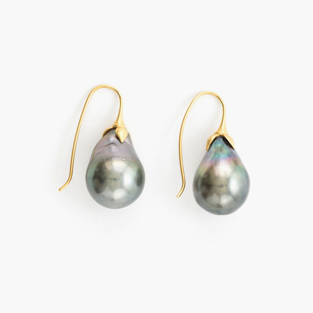 Eggplant Pearl Earrings