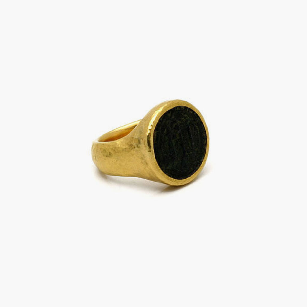 Wide Band Bronze Coin Ring