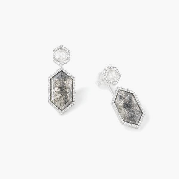 Hexagonal Earrings with Grey Diamonds